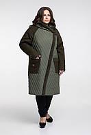 Зимняя куртка с капюшоном из комбинированной ткани, с 48 по 66 размер , фото 1