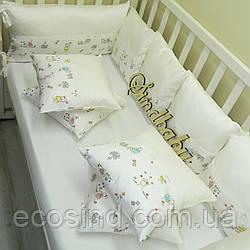 Защитные бортики из сатина для детской кроватки -15