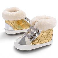Теплые пинетки-ботиночки для малышки 12.5 см.