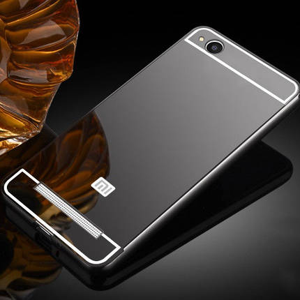 Металлический бампер с акриловой вставкой с зеркальным покрытием для Xiaomi Redmi 4a (Черный), фото 2
