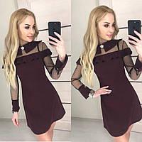 Красивое платье бордового цвета с воротом и вставкой из сетки