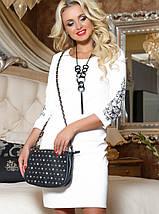 Женское трикотажное платье с вышивкой на рукавах (2066-2068-2070-2067 svt), фото 3