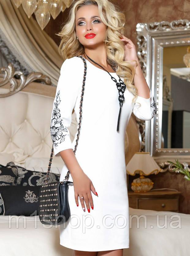 Женское трикотажное платье с вышивкой на рукавах (2066-2068-2070-2067 svt)