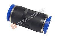 Соединитель тормозной трубки прямой пластиковый (аварийный фитинг, спасатель) Ø12мм- Ø12мм