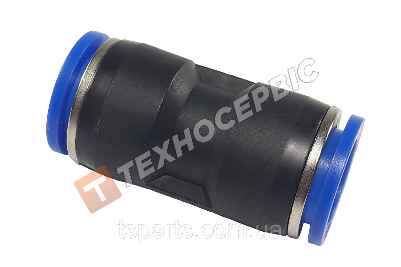 Соединитель тормозной трубки прямой пластиковый (аварийный фитинг, спасатель) Ø14мм- Ø14мм