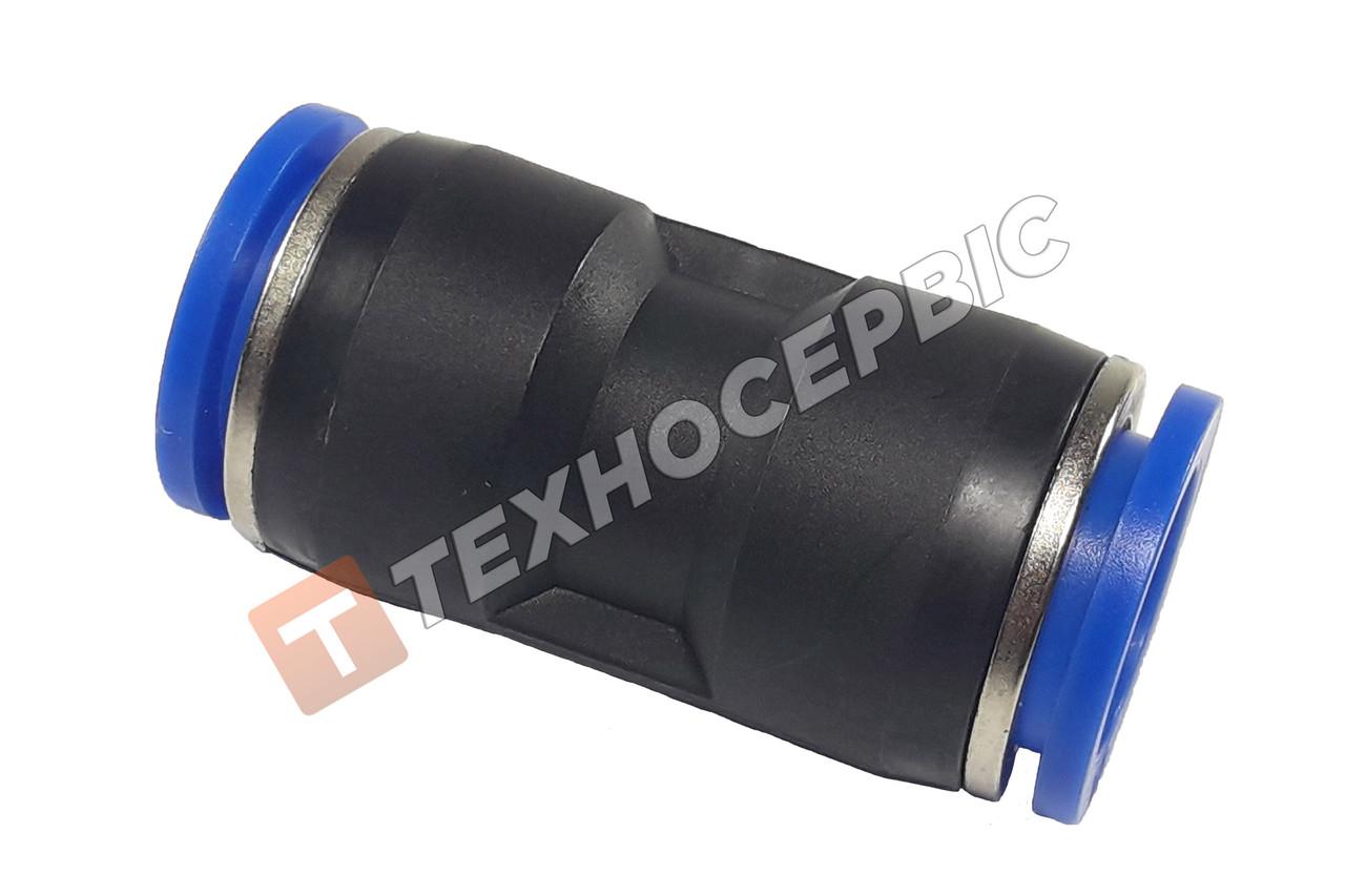 Соединитель тормозной трубки прямой пластиковый (аварийный фитинг, спасатель,PUC16) Ø16мм- Ø16мм