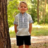 Вышитая детская рубашка с коротким рукавом и воротником-стойкой, фото 1