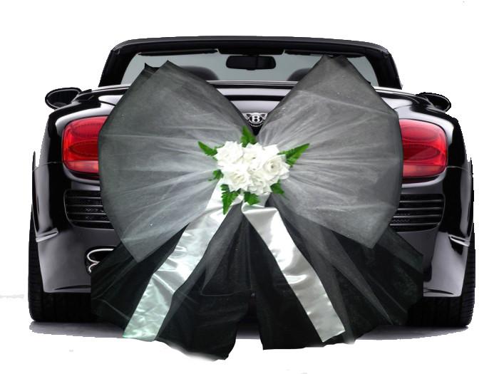 Бант из фатина на свадебную машину