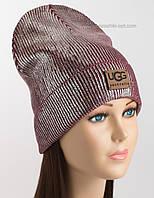 Бордовая женская шапочка с логотипом Ugg и серебряным напылением
