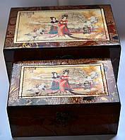 Набор деревянных шкатулок для украшений 2 шт.