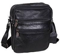 Кожаная мужская сумка через плечо Bon R0 черная барсетка кожа 19х15х7см