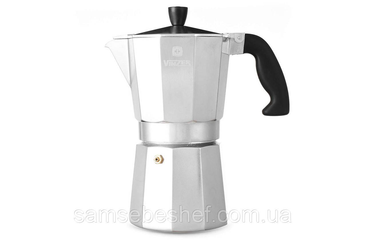 Гейзерная кофеварка Vinzer Moka Espresso 6 чашек, 89386