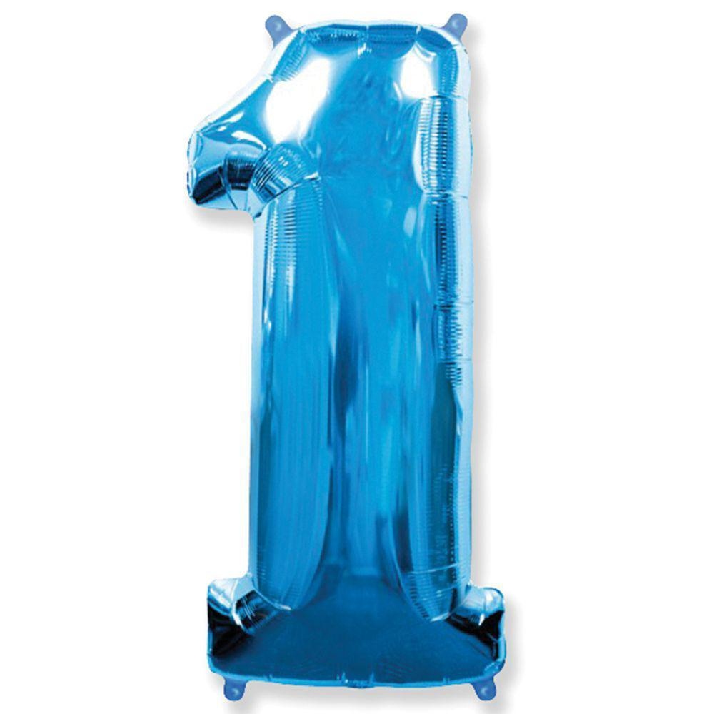 """Надувна куля Цифра 1, 40"""" (102 см) фольга Синя, Flexmetal"""