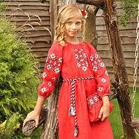 Красное вышитое платье на льне для девочки с рукавом 3/4, фото 1