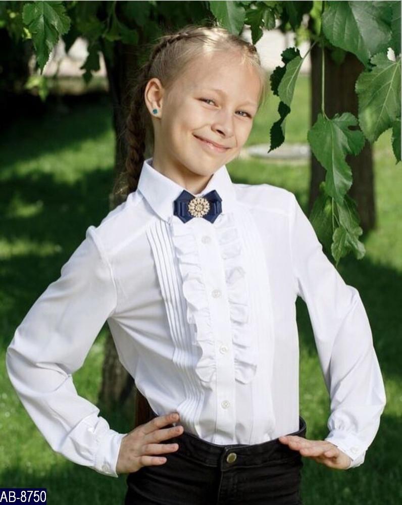 Блузка школьная с рюшами Размер: 34, 36, 38, 40, 42 мод 156 цвет белый ткань: вискоза ,полиестер (без брошки )