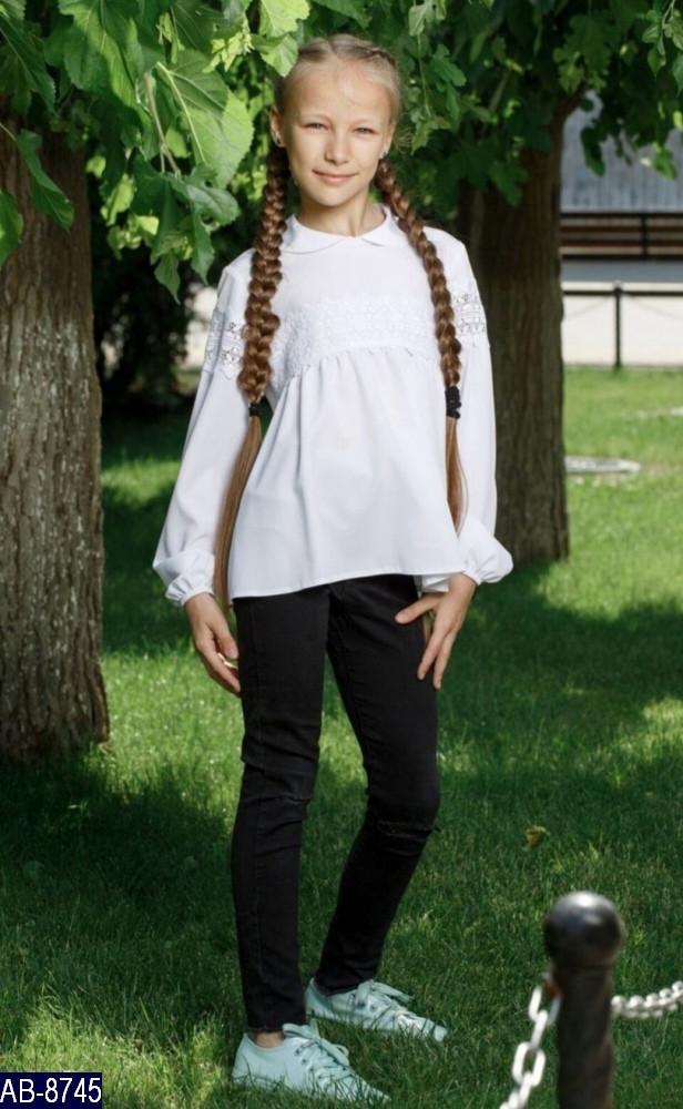 Блузка школьная длинный рукав С кружевом Размер: 32, 34, 36, 38 мод 146 ткань: вискоза,эластан