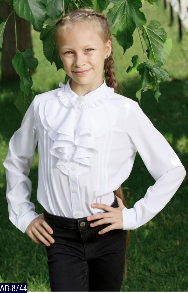 Блузка школьная для девочки Декор Воланы Размер: 32, 34, 36, 38 мод 148 ткань: вискоза,эластан