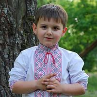 Белая вышиванка льняная для мальчика с длинным рукавом, фото 1