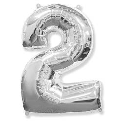 "Надувной шар Цифра 2, 40"" (102 см) фольга Серебро, Flexmetal"
