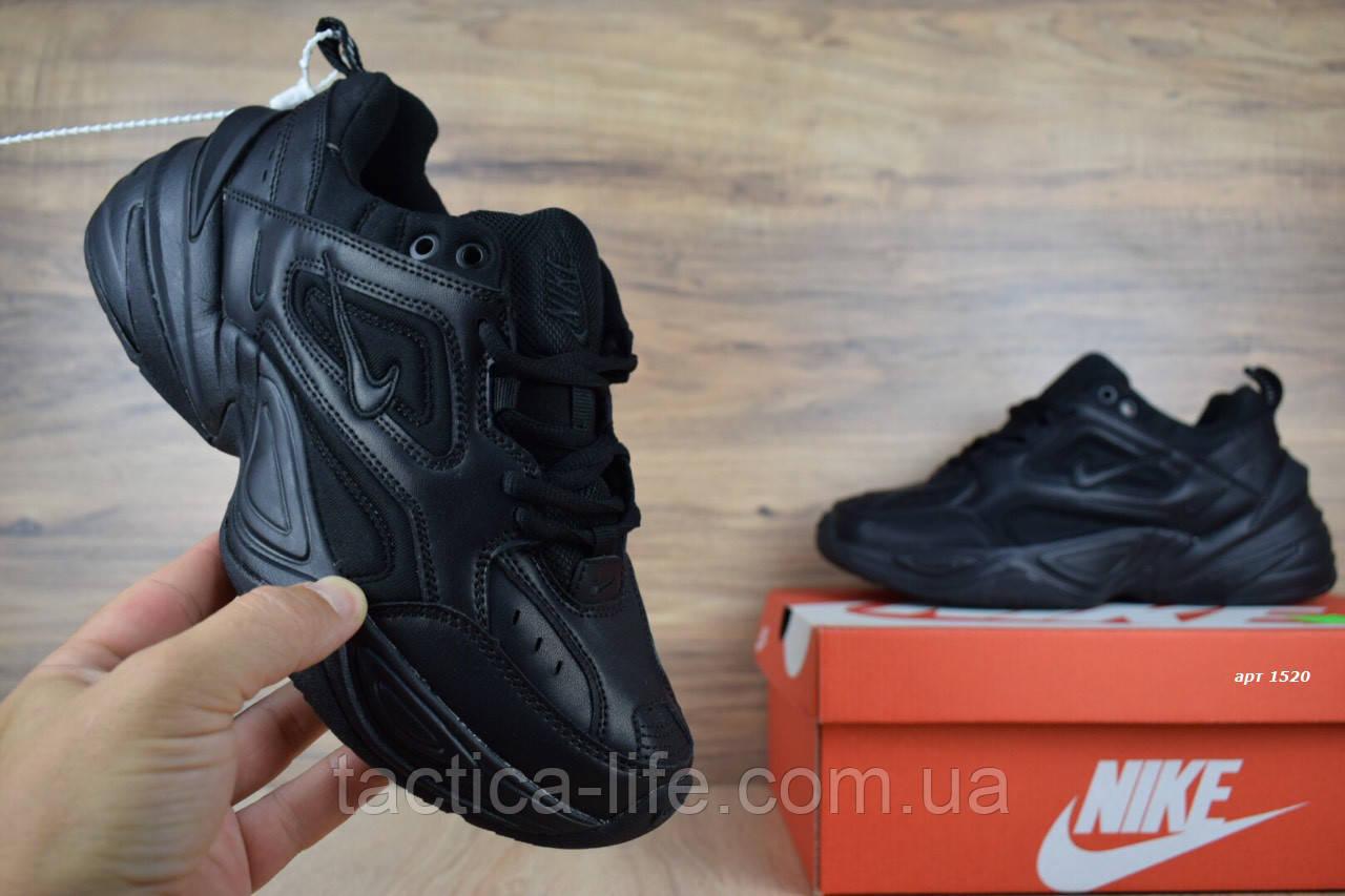 3005b0eb Мужские кроссовки Nike M2K Tekno черные, натуральная кожа (реплика +ААА)