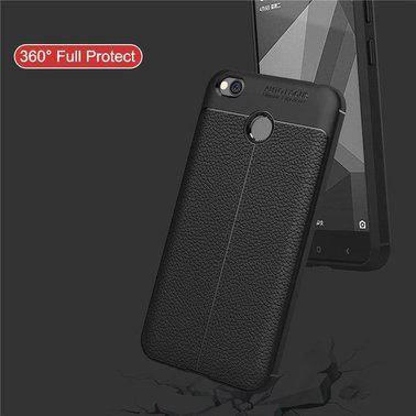 "TPU чехол ""Leather grain"" для Xiaomi Redmi 4X black, фото 2"