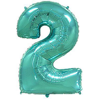 "Надувной шар Цифра 2, 40"" (102 см) фольга Металлик Тиффани, Flexmetal"
