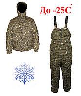 Зимний теплый костюм Пиксель зеленый