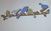 """Вешалка настенная декоративная """"Blue birds"""", дерево (48*12*4* см.), фото 1"""