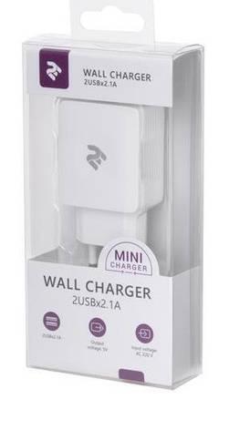 З/у сетевое 2E USB Wall Charger 2 USB 5V/2.1A white (2E-WC4USB-W) EAN/UPC: 680051627410, фото 2