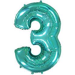 "Надувной шар Цифра 3, 40"" (102 см) фольга Металлик Тиффани, Flexmetal"