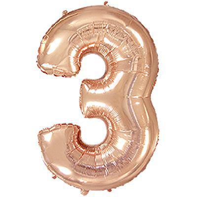 """Надувной шар Цифра 3, 40"""" (102 см) фольга Металлик Розовое золото, Flexmetal"""