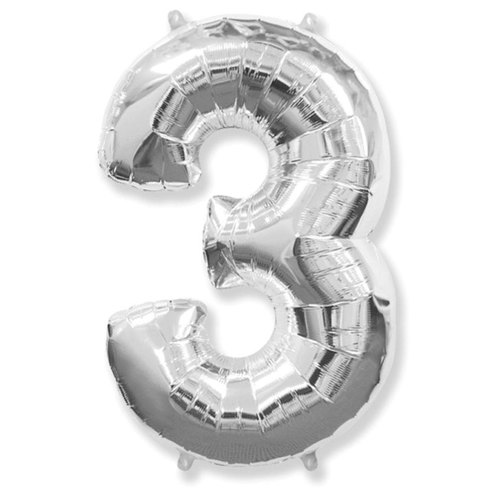 "Надувной шар Цифра 3, 40"" (102 см) фольга Серебро, Flexmetal"