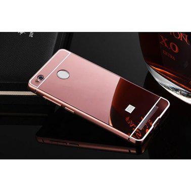 Металлический бампер с акриловой вставкой с зеркальным покрытием для Xiaomi Redmi 4X (Розовый)