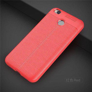 "TPU чехол ""Leather grain"" для Xiaomi Redmi 4X red"