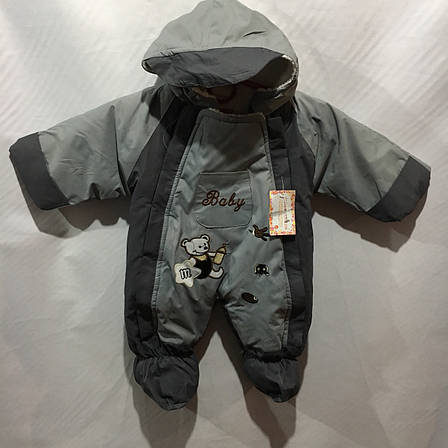 Дитячий теплий комбінезон для хлопчика 6 міс-1 року, фото 2