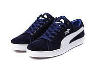 Мужские  кроссовки Puma SUEDE Blue натур замша (реплика)