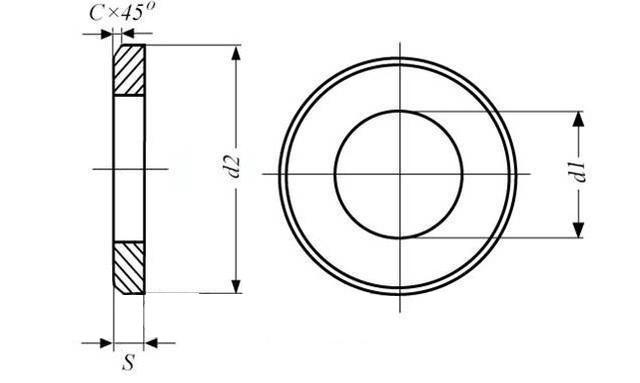 Схема оцинкованной шайбы для фланцевых соединений ГОСТ 9065-75