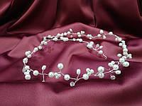 Веточка с хрусталиками для свадебной и вечерней прически длинная, фото 1