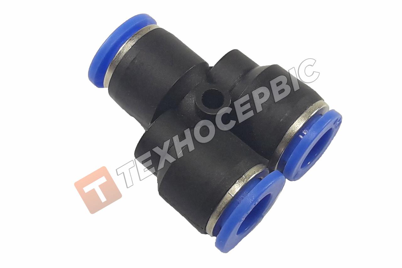З'єднувач гальмівної трубки Y-подібний пластиковий (аварійний фітінг, рятувальник,SPY8) Ø8мм-Ø8мм-Ø8мм
