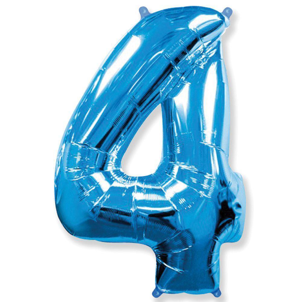 """Надувной шар Цифра 4, 40"""" (102 см) фольга Синяя, Flexmetal"""