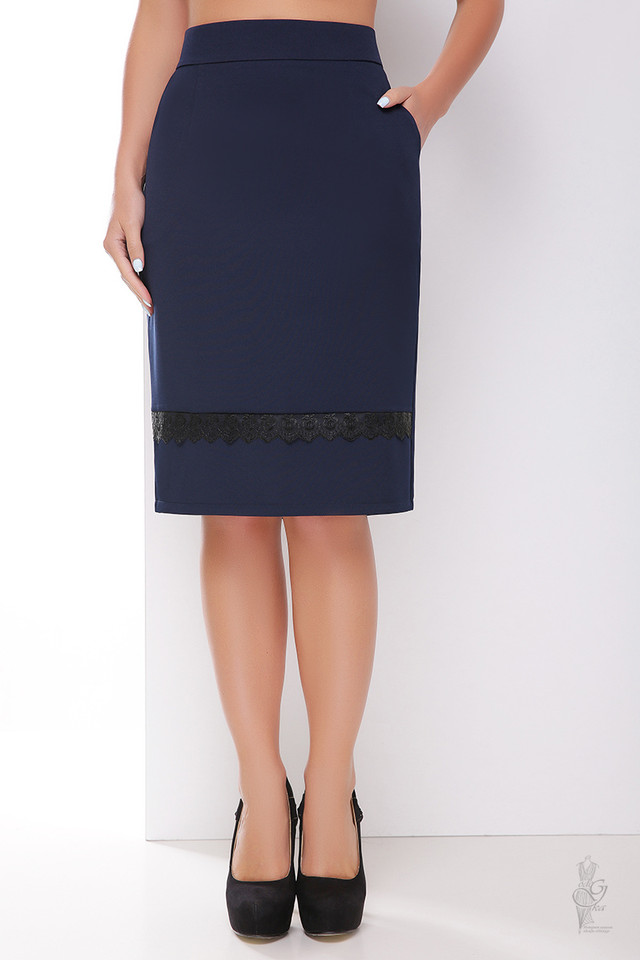 Цвет синий Узкой юбки Пола-кружево