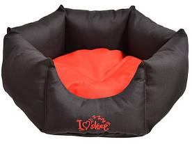 Лежак Noble Pet Paul диаметр 45 см Черно-красный (P2103/45)