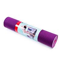 Йогамат, коврик для фитнеса, TPE, 2слоя, 6мм, фиолетово-розовый