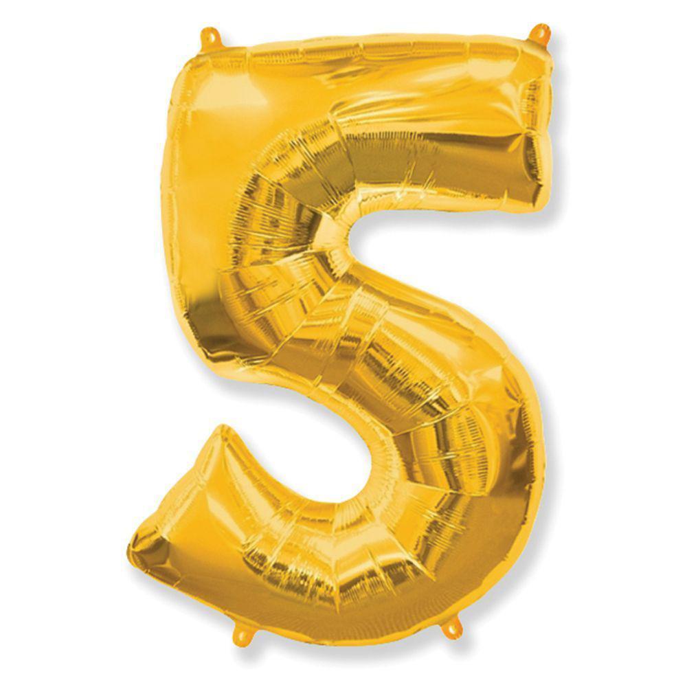 """Надувной шар Цифра 5, 40"""" (102 см) фольга золото, Flexmetal"""