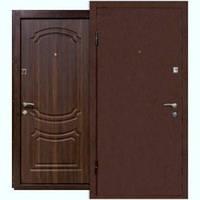 Двери входные ПУ-01 Орех коньячный метал+мдф Уличная