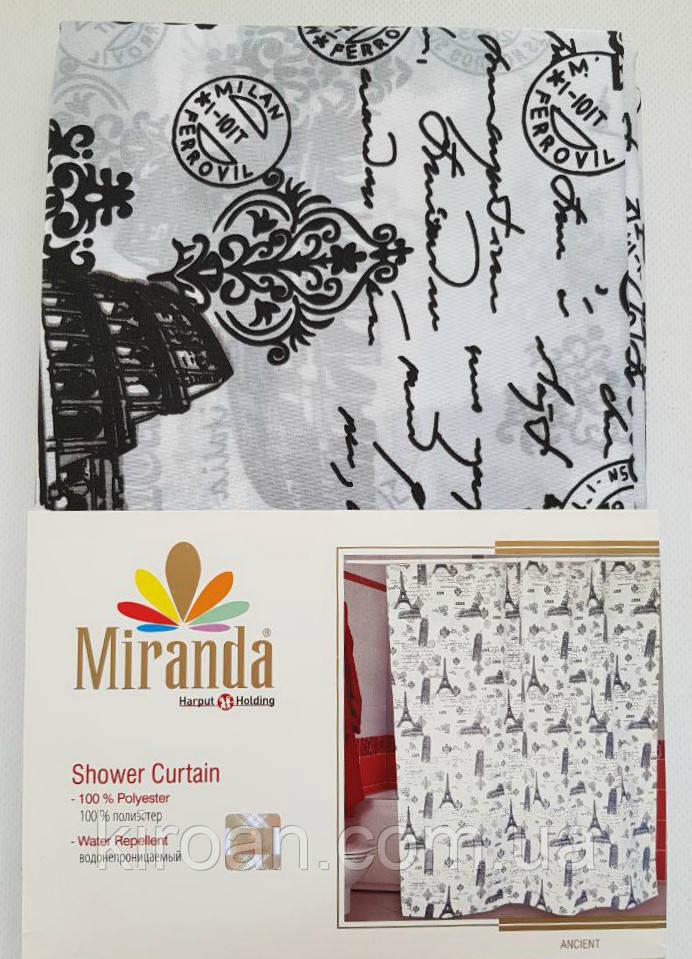 Шторка для ванной/душа Miranda (черно-белая) ANCIENT