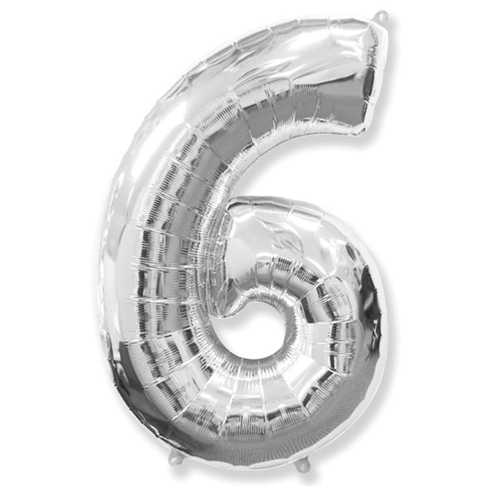 "Надувной шар Цифра 6, 40"" (102 см) фольга Серебро, Flexmetal"