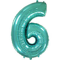 "Надувной шар Цифра 6, 40"" (102 см) фольга Металлик Тиффани, Flexmetal"