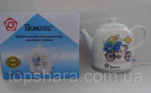 Керамический электрочайник дисковый Domotec MS 5051 объемом 1.5 литра с рисунком