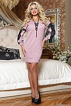 Женское ангоровое платье с гипюром на рукавах (2075-2069 svt), фото 3